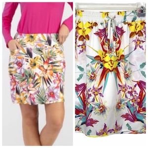 Tribal Tropical Floral Pull-on Skirt Size Small